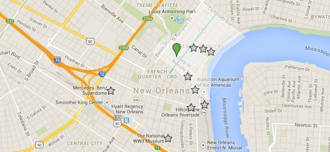 Map Directions to Prince Conti Hotel New Orleans French Quarter